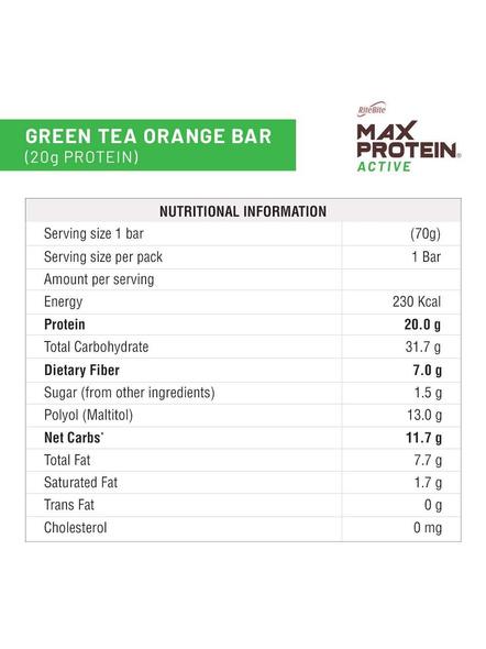 Ritebite Max Protein Active Bars 420g - Pack Of 6 (70g X 6)-GREEN TEA ORANGE-2