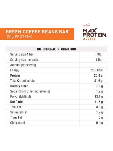 Ritebite Max Protein Active Bars 420g - Pack Of 6 (70g X 6)-GREEN COFFEE BEANS-2