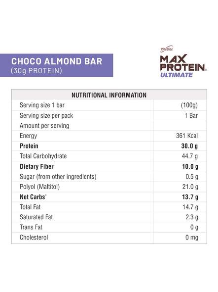 Ritebite Max Protein Ultimate Bars 1200g - Pack Of 12 (100g X 12)-CHOCO ALMOND-100 g-2