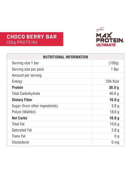 Ritebite Max Protein Ultimate Bars 1200g - Pack Of 12 (100g X 12)-CHOCO BERRY-100 g-2