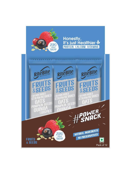 Ritebite Max Protein 480 G, Pack Of 12-FRUITS AND SEEDS-1