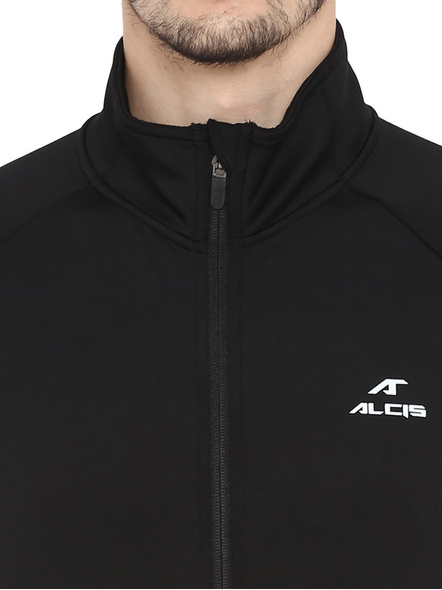 Alcis Men Solid Black Jacket Mjkaw281-Xxl-Black-1