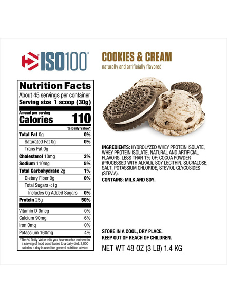 Dymatize Nutrition Iso 100 Whey Protein Powder Isolate 3 Lbs-COOKIE AND CREAM-3 Lbs-1