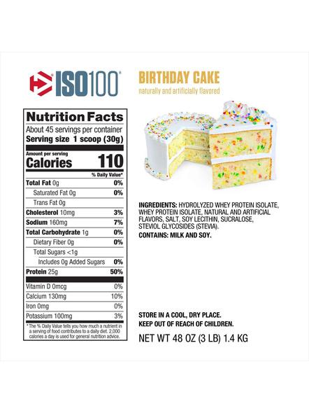 Dymatize Nutrition Iso 100 Whey Protein Powder Isolate 3 Lbs-BIRTHDAY CAKE-3 Lbs-1