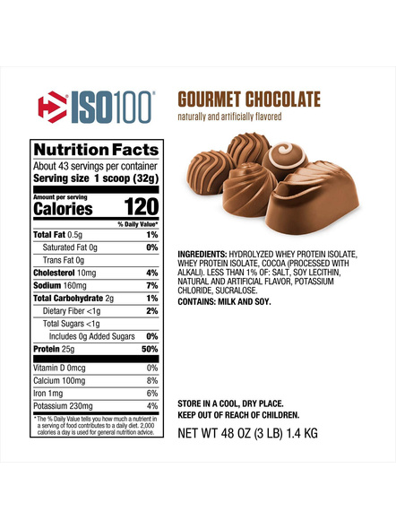 Dymatize Nutrition Iso 100 Whey Protein Powder Isolate 3 Lbs-GOURMET CHOCOLATE-3 Lbs-1