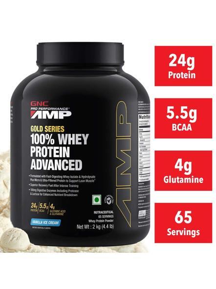 Gnc Amp Amplified Gold 100% Whey Protein Advanced 2 Kg-VANILLA ICE CREAM-2 Kg-1
