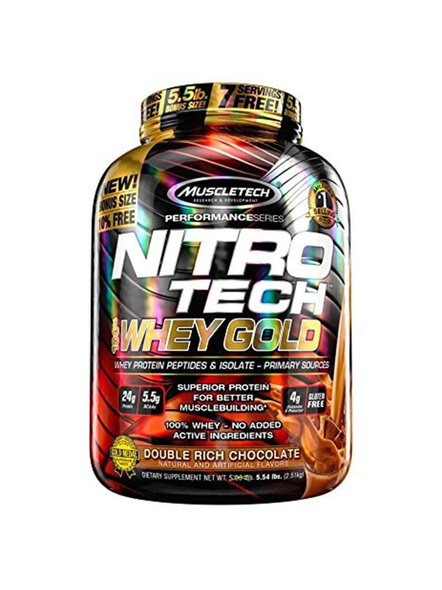 Muscletech Performance Series Nitrotech Whey Gold (whey Protein Peptides & Isolate, 24g Protein, 5.5g Bcaas, 4g Glutamine, Gluten Free, Post-workout) - 5.54lbs, 2.51kg 5.5 Lbs-1441