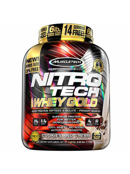 Muscletech Performance Series Nitrotech Whey Gold (whey Protein Peptides & Isolate, 24g Protein, 5.5g Bcaas, 4g Glutamine, Gluten Free, Post-workout) - 5.54lbs, 2.51kg 5.5 Lbs-5171