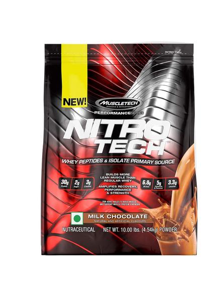 Muscletech Performance Series Nitrotech Whey Protein Peptides & Isolate (30g Protein, 3g Creatine, 6.8 Bcaas, 5g Glutamine & Precursor, 3.3g Leucine, Post-workout) - 10lbs (4.54kg) 10 Lbs-MILK CHOCOLATE-10 Lbs-1