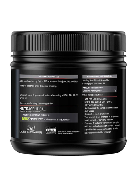 Muscleblaze Creatine With Crepure 0.55 Lb Muscle Booster-UNFLAVORED-0.55 Lbs-1