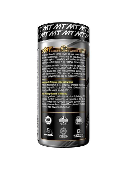 Muscletech Essential Series Platinum Multi Vitamin (18 Vitamins & Minerals, 865mg Amino Support) - 90 Tabs-NA-90 Cap-2