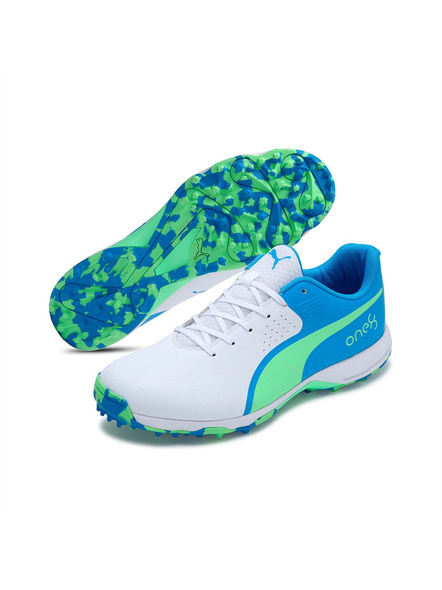 PUMA 105565 CRICKET SHOES-7-White-Nrgy Blue-Green-1