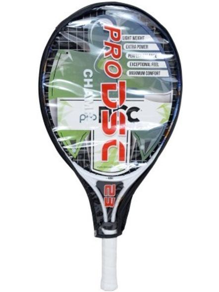 "DSC CHAMP JUNIOR 23"" White, Blue Strung Tennis Racquet-PEACH-NAVY-BLUE-.-1"