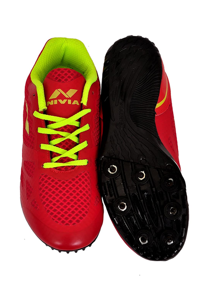 Nivia Men's Spikes Spirit Synthetic Running Shoes-4-RED-1