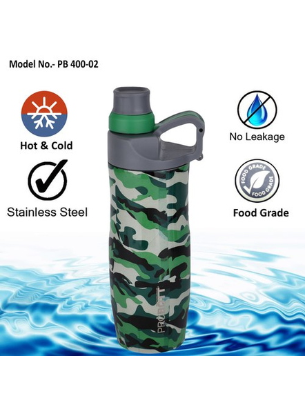 PROBOTT Stainless steel double wall vacuum flask PB 400-02 400 ml Bottle (Colour May Vary)-GREY-1