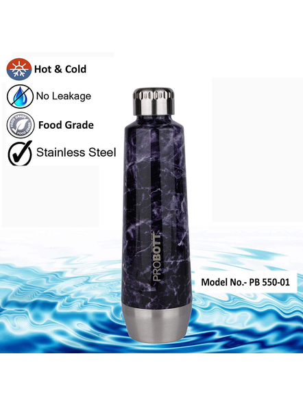 PROBOTT Stainless Steel Double Wall Vacuum Flask Puro Sports Bottle 550ml - PB 550-01 (Colour May Vary)-BLUE-2