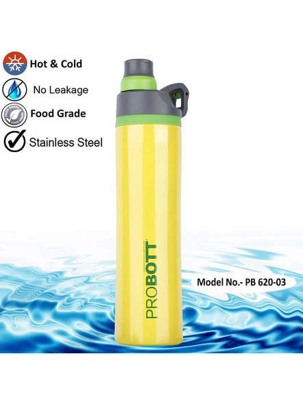 PROBOTT Stainless Steel Double Wall Vacuum Flask Delta Bottle 620ml -PB 620-03 (Colour May Vary)-YELLOW-2