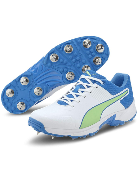 PUMA 105510 CRICKET SHOES-White-Nrgy Blue-Elektro Green-9-1