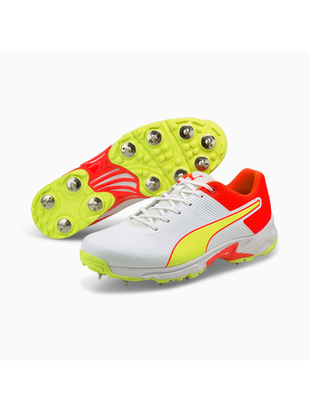 PUMA 105510 CRICKET SHOES-White/Red/Yellow-7-1