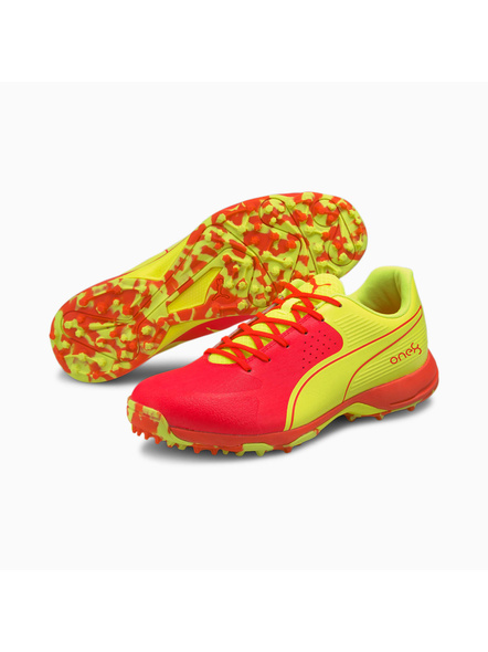 PUMA 105565 CRICKET SHOES-Red / Yellow-7-1