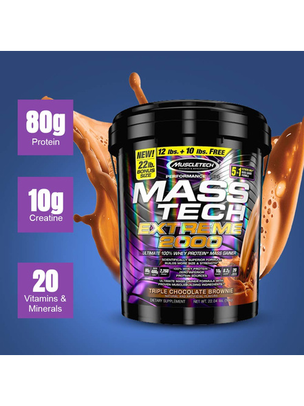 Muscletech Mass Tech Extreme 2000, 22 Lb-22 Lbs-TRIPPLE CHOCOLATE BROWNIE-1