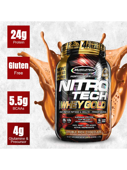 Muscletech Nitrotech 100% Whey Gold Whey Protien Blend 2.5 Lbs-2.5 Lbs-DOUBLE RICH CHOCLATE-1