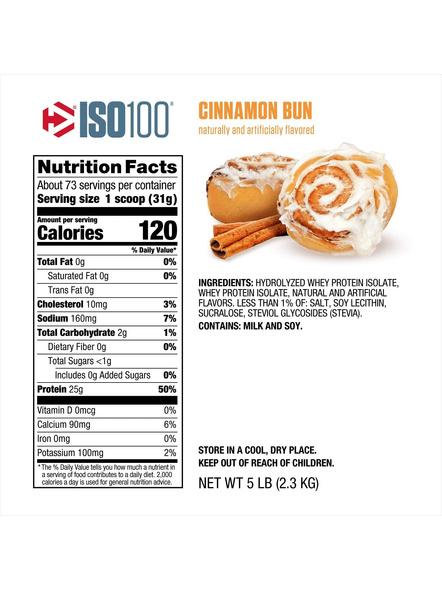Dymatize Nutrition Iso 100 Whey Protein Powder Isolate 5 Lbs-5 Lbs-CINNAMON BUN-1