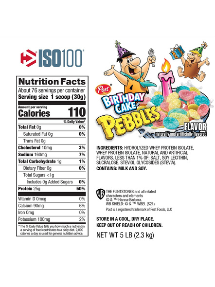 Dymatize Nutrition Iso 100 Whey Protein Powder Isolate 5 Lbs-BIRTHDAY CAKE-5 LBS-1