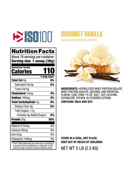 Dymatize Nutrition Iso 100 Whey Protein Powder Isolate 5 Lbs-COOKIE & CREAM-1