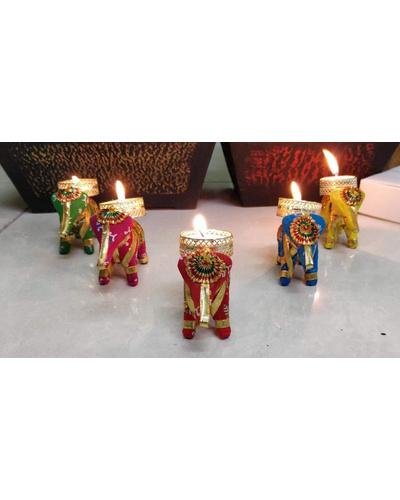 ELEPHANT SHAPE T-LIGHT CANDLE HOLDER - Coloured-ECSTL