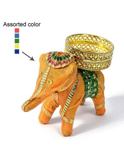 ELEPHANT SHAPE T-LIGHT CANDLE HOLDER - Coloured-1