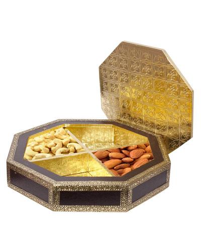 Beautiful  Golden Meenakari Dryfruit Box-2