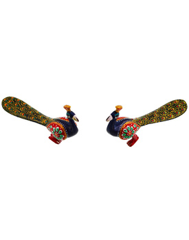 Pure Brass Enamel Work Peacock Pair Showpieces Handicraft