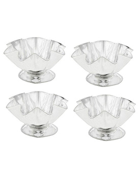 Silver Polished Lotus Flower Deepak Set
