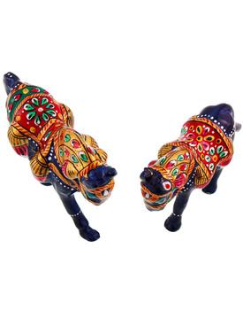 Enamel Work Pure Brass Horse Pair Gift Handicraft