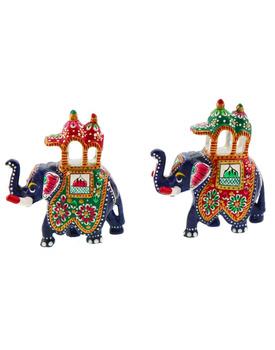 Brass Maharaja's Elephant Pair Handicraft