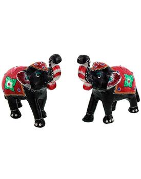 Paper Mache Elephant Pair Showpiece Gifts Handicraft