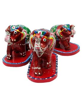 Paper Mache Pair of 3 Elephant Home Decorative