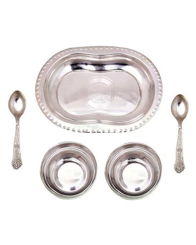 Silver Polish 2 Brass Bowl 2 Spoon n Tray Set-2
