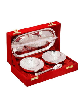 Silver Polished 2 Brass Bowls, 2 Spoons n Tray Handicraft