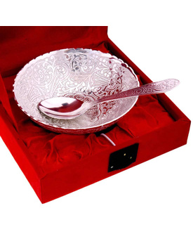 Silver Polished Peacock Carved Bowl Spoon Handicraft Gift Item