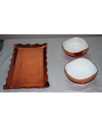 Designer aluminium hammered Metal Tray with copper finish with two bowls-1