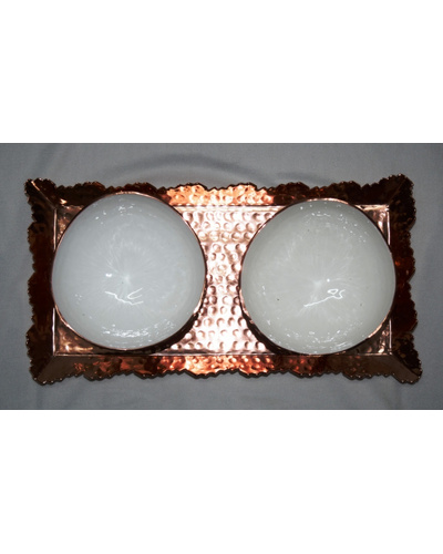 Designer aluminium hammered Metal Tray with copper finish with two bowls-2