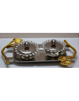 Designer Aluminium hammered Metal Tray with steel finish with two bowls