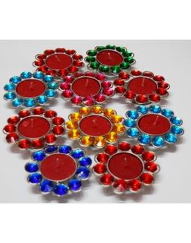 Colourful Crystal Diwali Diyas / Tea Lights (Pack of 10)