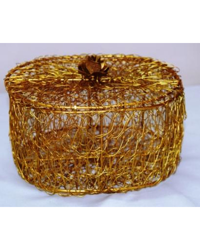 Golden Wired Multipurpose Gifting Box - Oval-TK02041