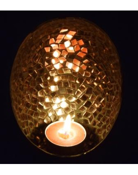 Copper Mirror Mosaic Tea Light Candle Holder / Votive