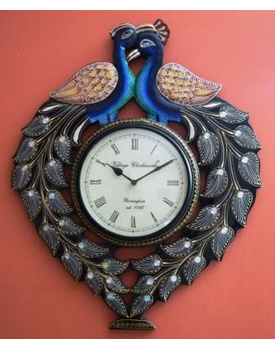 Tanhar Krafts Beautiful Peacock Pair Wooden Hand Painted Ethnic Wall Clock
