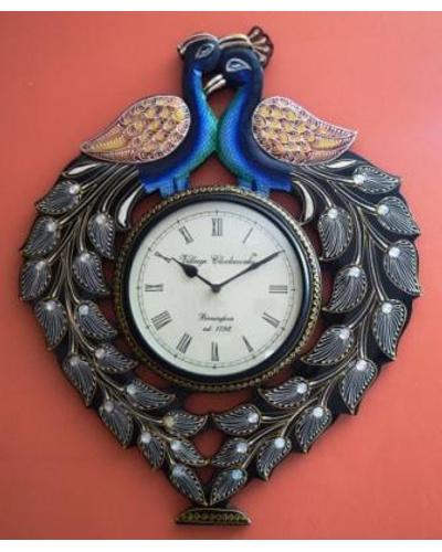 Tanhar Krafts Beautiful Peacock Pair Wooden Hand Painted Ethnic Wall Clock-TK04016