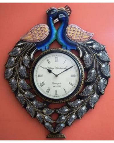 Tanhar Krafts Beautiful Peacock Pair Wooden Hand Painted Ethnic Wall Clock-1